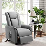 BOSSIN Single Recliner Chair Fabric Recliner Sofa with Padded Seat,Adjustable Modern Single Reclining Chair with Pocket for Living Room(Fabric, Gray)
