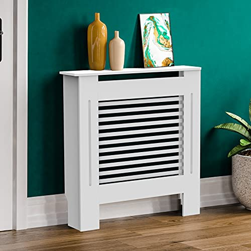 Ukmaster Wood Radiator Cover White Modern MDF Wall Cabinet Horizontal Slat Grill Heating Home Furniture Cabinet Shelf for Living room Bedroom, Small