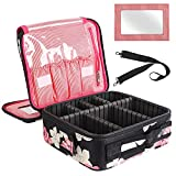 Kootek Travel Makeup Bag 2 Layer Portable Train Cosmetic Case Organizer with Mirror Shoulder Strap Adjustable Dividers for Cosmetics Makeup Brushes Toiletry Jewelry Digital Accessories