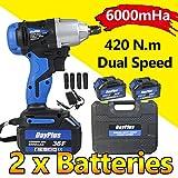 "Cordless Impact Compact Wrench 2X 6000mAh li-ion Battery 420 N.M 1/2"" Drive Dual"