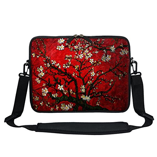 Meffort Inc 11.6 Inch Neoprene Laptop/Ultrabook/Chromebook Bag Carrying Sleeve with Hidden Handle and Adjustable Shoulder Strap (Vincent Van Gogh Cherry Blossoming)