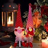 Hengqiyuan 2 Piezas de Adornos Luminosos de Felpa de gnomo del día de San Valentín, Adorno de Escritorio Hecho a Mano para el Sr. y la Sra,Rojo,15 Inches