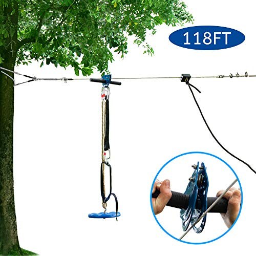 JOYMOR 118ft Zip line Kit Backyard Zipline with Detachable Trolley, 304 Stainless Steel Cable, Gear Bungee Brake Block System, Adjustable Safe Belt and Seat(118ft)
