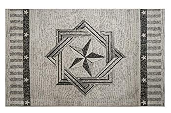 Furnish My Place Texas Star Rug - 3 ft 5 in x 5 ft 6 in Peach Rustic Novelty Lone Star Rug with Border Jute Backing