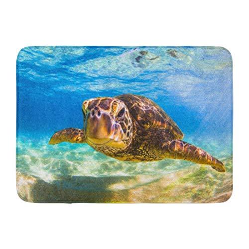 Alfombrillas Alfombras de baño Alfombrilla para Puerta Exterior / Interior Océano Azul En Peligro de extinción Hawaiian Green Sea Turtle Sand Aloha Animal Baño Decoración Alfombra Alfombra de baño