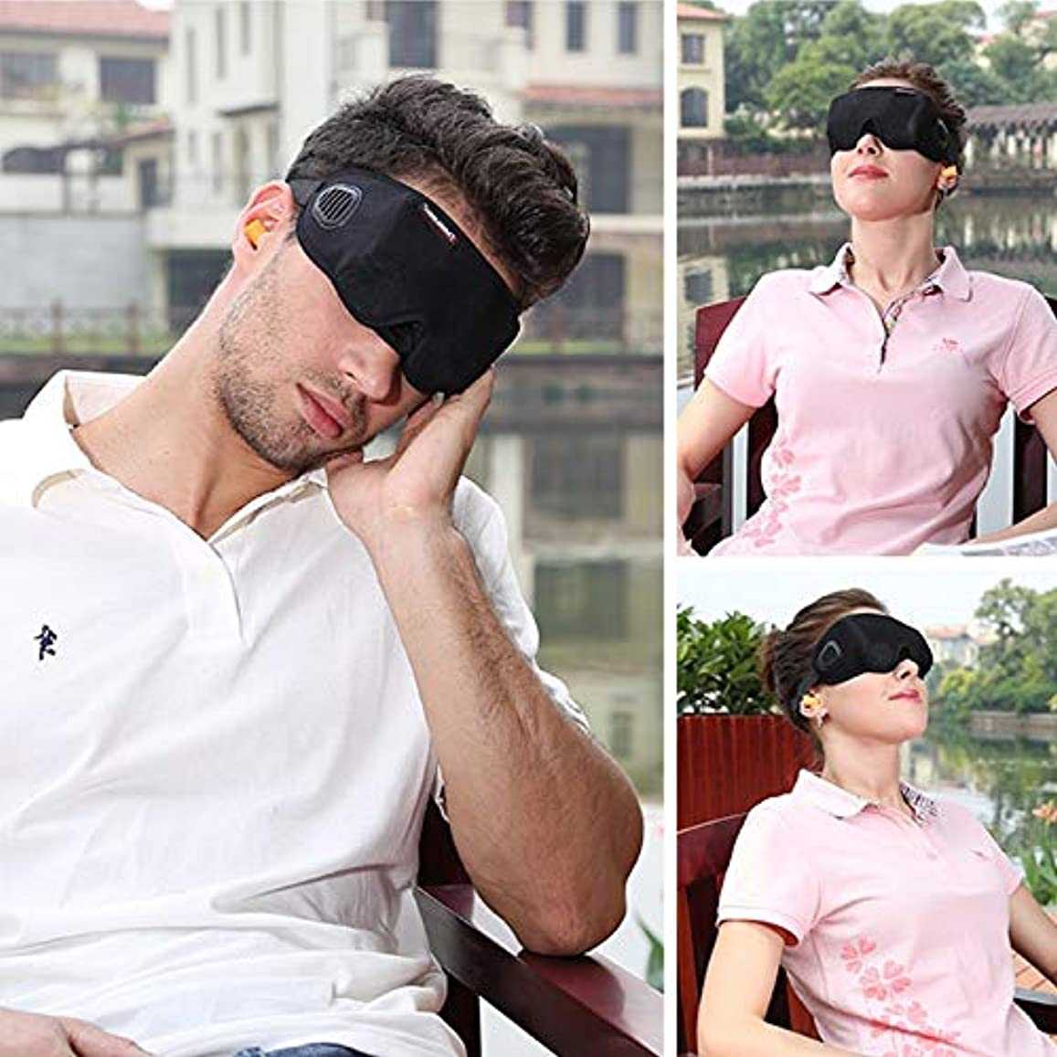 声を出して告発段落注意ソフト通気性3Dスリーピングアイマスクアイシェードブラック包帯用スリープマスクブラックアイズカバー目隠し用睡眠旅行残り