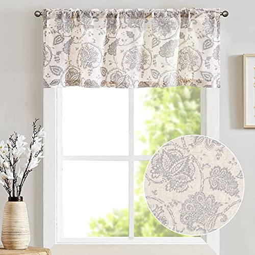 jinchan Valances for Window Linen Textured Valance Curtain for Kitchen Rod Pocket Small Window Curtains Grey Medallion Design Rustic Jacobean Floral Printed Valance 1 Panel 18 Inch Gray on Beige