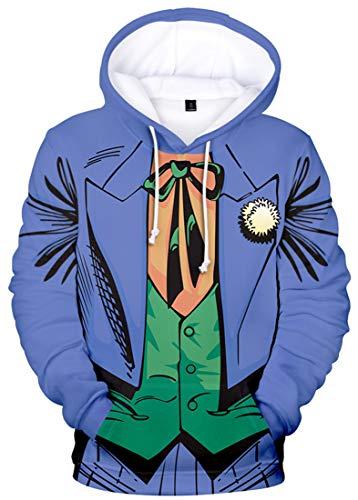 Silver Basic Sudadera con Capucha Unisex Novelty The Joker 3D para Hombre Mujer Sudadera con Capucha y Cordón de Manga Larga