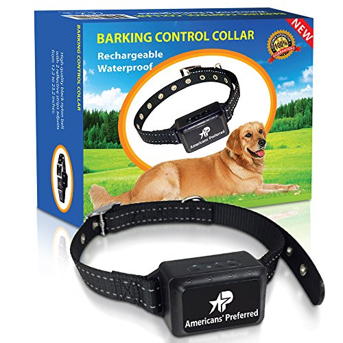 Americans' Preferred Rechargeable and Waterproof Dog Bark Control Collar – Best for Naturally Stopping Excessive Barking – Durable Nylon Belt and Advanced Voice Recognition Technology