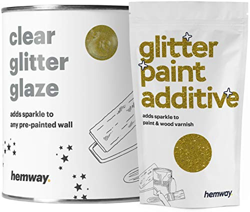 Hemway 1 l przezroczysta błyszcząca farba glazura (złota) do wstępnie pomalowanych ścian, sufitów - emulsja, akryl, lateks - drewno, lakier, martwy płaski, matowy, miękki połysk lub jedwab (do wyboru 25 kolorów brokatu)