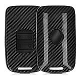 kwmobile Accessoire Clé de Voiture Compatible avec Renault Smart Key 4-Bouton (Keyless Go Uniquement) - Coque de Protection en Plastique Rigide Carbone Noir