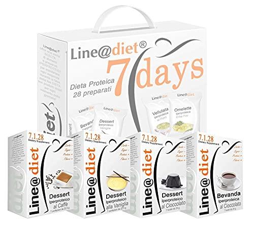 """DIETA PROTEICA Line@Diet! Alimenti Proteici in BAG COMPLETO per 7 Giorni: Opzione DOLCE = 28 preparati PROTEICI (buste proteiche) senza Carboidrati e senza Zuccheri, una dieta per """"PERDERE PESO"""" i pochi giorni, senza sentire la FAME! Una settimana completa di colazione, spuntino, pranzo e cena ...brucia grassi e TORNI SUBITO in FORMA!"""