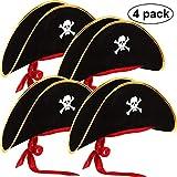Hsei 4 Unidades Pirata Sombrero clásico cráneo Imprimir Pirata capitán Traje para Halloween Masquerade Party Cosplay Hat Prop