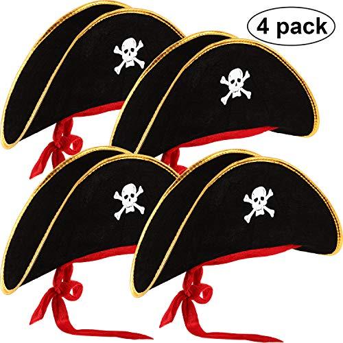 Hsei 4 Stücke Piraten Hut Klassische Schädel Print Piraten Kapitän Kostüm Kappe für Halloween Maskerade Party Cosplay Hut Stütze