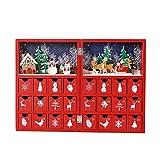Christmas Advent Calendar 木製アドベントカレンダーブッククリスマスカレンダーには、クリスマスまでの24の引き出しカウントダウンがあります