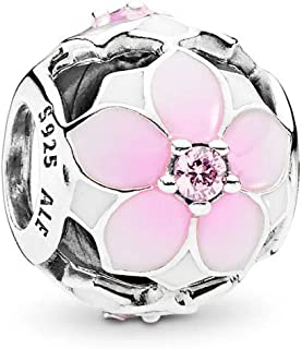 Magnolia Bloom Charm, Sterling Silver, Pale Cerise Enamel & Pink Cubic Zirconia, One Size