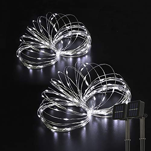 Beewin Outdoor Solar String Lights, 2 Pack 33ft 100L Solar Copper Fairy Lights,8 Modes Twinkle...