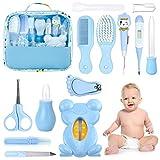 Set para Cuidado del Bebé HyAdierTech 13 piezas Conjunto de Aseo para Bebés Cuidado, Kit de Aseo Nail Clipper Tijeras Cepillo de Pelo Peine Manicura Termómetro, Perfecto para Recién Nacido (Azul)