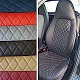 Top Car Athens || Rhombus | Zwei Autositzbezüge | Kunstleder & Synthetik Schwarz Rückseite Oberfläche | 100% Passgenau, Kompatibel mit SMART FORTWO (451) | Sitzbezügesets | Farbe Schwarz
