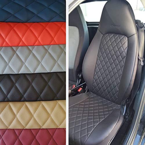 TOPCAR ATHENS Rhombus, Zwei Autositzbezüge aus Kunstleder mit Synthetik Schwarz Rückseite Oberfläche, 100% Passgenau, Sitzbezügesets, Farben Schwarz (451)