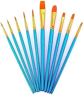 AOOK 画材筆 ペイント ブラシ アクリル筆 水彩筆 油絵筆 画筆 丸筆 平型筆 平型円頭筆 短毛筆 アクリル絵の具 10本セット (ブルー)