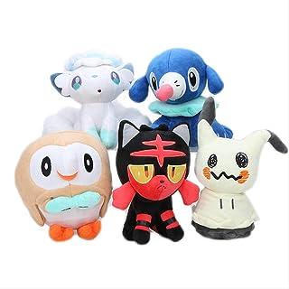 5 stks/set Pokemon Anime Eevee Litten Rowlet Popplio Alola Vulpix Mimikyu Knuffel Gevulde Dierlijke Doll voor kinderen 30c...