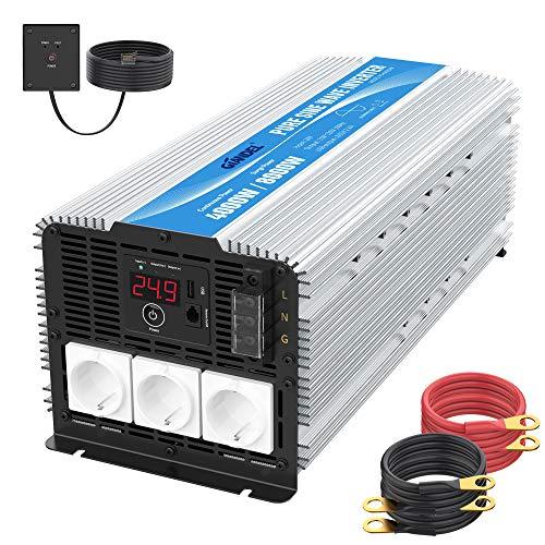 4000W Heavy Duty Wechselrichter 24V auf 230V Reiner Sinus Spannungswandler 24V Konverter mit 3 EU-Steckdosen Fernbedienung 2.4A USB und LED-Anzeige für Wohnmobil-LKW GIANDEL