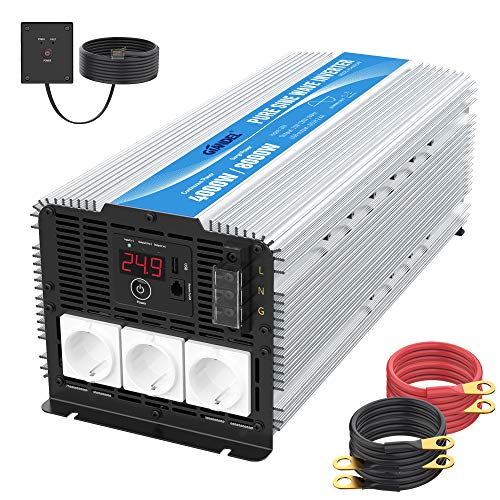 4000W 24V Heavy Duty Reiner Sinus Wechselrichter 24V auf 230V Spannungswandler Wohnmobil mit 3 Steckdosen mit Fernbedienung 2.4A USB und LED-Anzeige GIANDEL