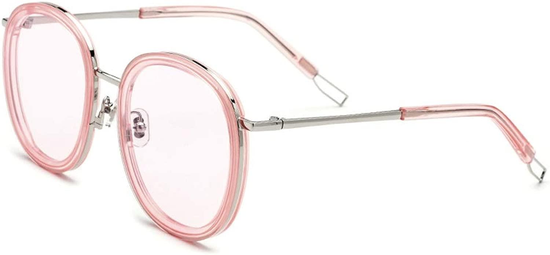 サングラス 新しいラウンドプレートメガネメンズメタルフレームファッションアウトドアサングラス女性ピンクレンズUV400保護, ファッションサングラス