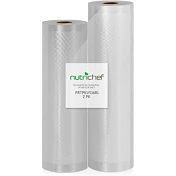 NutriChef PRTPKVS16RL 2 Rolls 11x50 and 8x50 4 mil Commercial Grade Vacuum Sealer Food Storage Rolls | Create Your Own Size Bag! For NutriChef, and Other Brands. (total 100 feet)