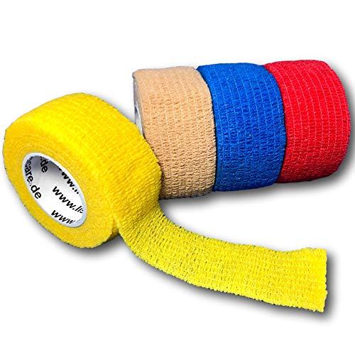LisaCare Fingerpflaster selbsthaftend - elastisches, wasserfestes, Staub- fett- und schmutzabweisendes Pflaster - Farbauswahl - 4 Rollen á 2,5cm x 4,5m (Farbmix 1)