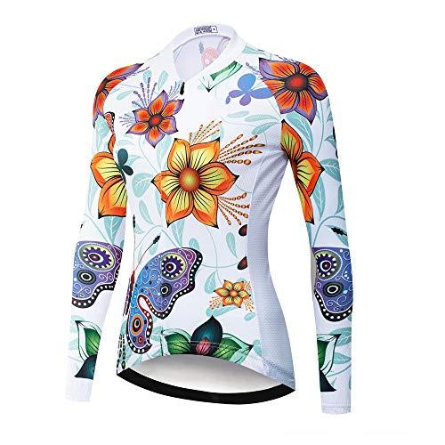 Maglia da ciclismo manica lunga da donna con tasche, abbigliamento da bici ad asciugatura rapida compresso Abbigliamento sportivo da esterno Cappotto da bici per mountain bike