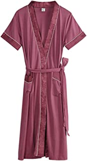 Modal Nightgown, Women's Summer Short-Sleeved Bathrobe, Thin Lapel tie Robe, Casual Home wear, Soft and Comfortable, (Color : Purple, Size : XL)