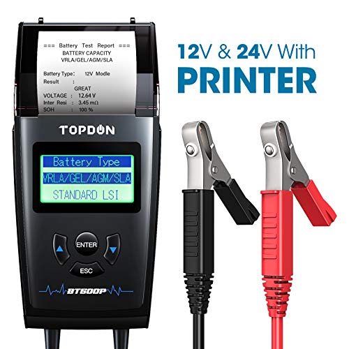 Car Battery Tester with Printer, TOPDON BT500P 12V/24V 100-1700 CCA Battery Load Tester, Cranking and Charging System Battery Analyzer, Automotive...