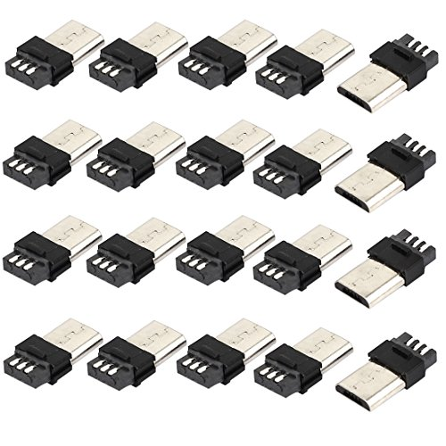 sourcing map 20Stück Micro-USB 5-Pin Typ-B Stecker Löten Stecker Buchse