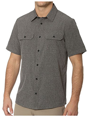 ZeroXposur Stretch Active SS Button Down Shirt (S, Heather Slate)