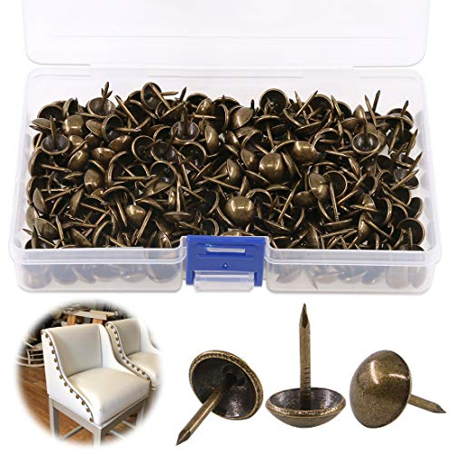 Keadic 300Pcs [ 7/16' in Diameter] Antique Upholstery Tacks Furniture Nails Pins Kit for Upholstered Furniture Cork Board or DIY Projects - Bronze