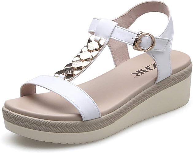 ZCW Chaussures polyvalentes décontractées , de Sandales compensées en été, avec des Chaussures à Semelle épaisse pour Femmes, des Chaussures Plates décontractées