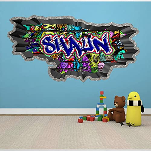 Personalizado Nombre Personalizado Graffiti Wall Calcomanías Pegatinas Hormigón Cracked Hole Mural Colores Brillantes 3D Arte de Pared Extraíble Póster Vinilo Calcomanías 31' bl204