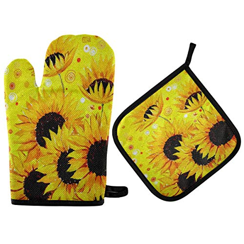 MNSRUU Kitchen Oven Mitt Pot Holder Set Sunflower Oven Mitts Wood Printed Gloves Insulation 300 degrees Soft Cotton Lining and Non-Slip Surface Safe for Baking,Cooking,BBQ