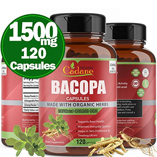 Organic Bacopa Monnieri Powder Capsules 1500mg, High Potency Extra Strength Brahmi Extract| Support Brain Function, Promotes Mental Clarity Supplement| Anxiety and Stress Relief Memory Focus,120 Caps