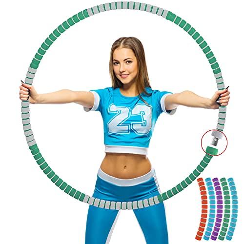 Aionly Hula Hoop Reifen, Edelstahlkern Hullahub Reifen zum Abnehmen (8 Teile), Einstellbares Gewichtsdesign (1kg-2.5kg), für Kinder、Erwachsene、Frauen, und Anfänger (grün)