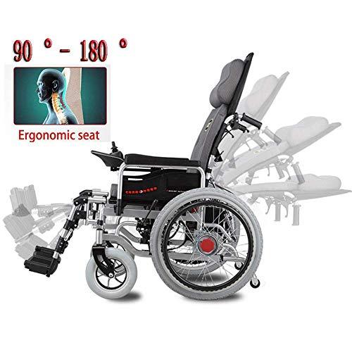 ZKORN Elektrorollstuhl, Hochleistungs-Elektrorollstuhl mit großen Rädern Angetriebener Rollstuhl Klappbar 250W * 2 Doppelmotorsitzbreite 46 cm 360 ° Joystick deaktiviert Ältere tragbare