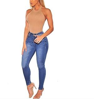 PUJIANGxian Equipada de la Mujer Soft Multicolor Cadera-Cintura De Los Pantalones Vaqueros De Baja Delgado Atractiva Botto...