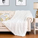 HBlife Luxury Soft Faux Fur Throw Blanket 50' X 60', Solid Reversible Lightweight Shaggy Fuzzy Blanket Plush Fluffy Cozy Decoration Throw Blankets for Couch and Living Room, White