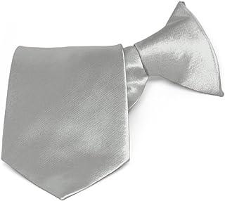 """TieMart Boys' Mercury Silver Solid Color Clip-On Tie, 8"""" Length"""