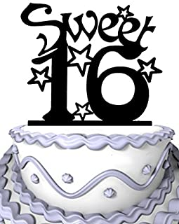 Meijiafei Sweet Sixteen Birthday Anniversary Acrylic Cake Topper