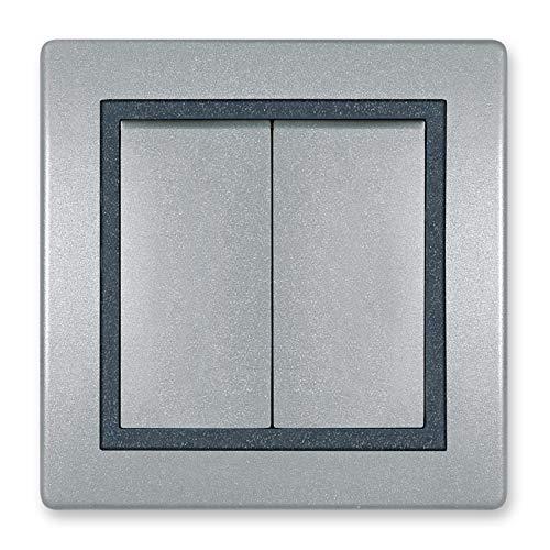 Prestige Line - Interruptor empotrado sin lámpara de brillo, color plateado, grafito y plateado, Plateado