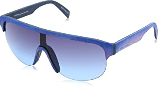 نظارة شمس كبيرة الحجم بعدسات متدرجة اللون وشنبر منقوش للنساء من ايطاليا انديبندنت - ازرق