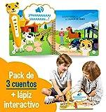 blaBOOK Pack de 3 Libros Interactivos Infantiles para Niños Entre 2 y 5 años + Lápiz Lector | SI Contiene Lápiz Lector